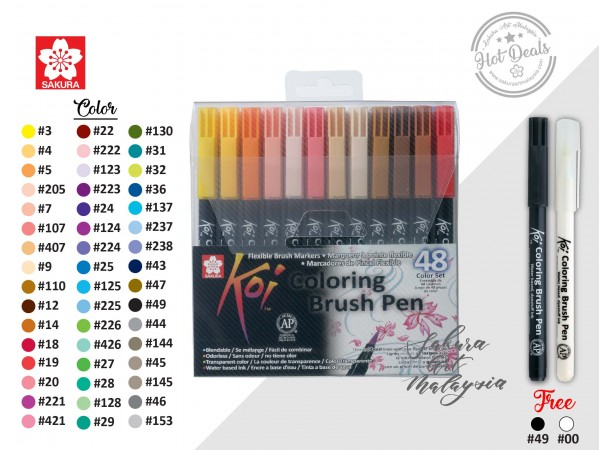 Koi Colouring Brush Pen Set (48C) + FOC [Blender+Black]
