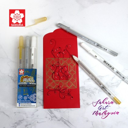 Gelly Roll Metallic & White (3's) + Red Packet (3's)